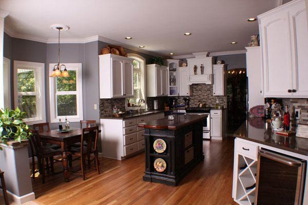 Newly painted lacquer cabinets that were part of a full kitchen remodel.