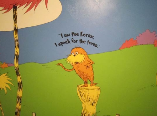 A closeup picture of a Lorax mural painted in Bend, Oregon.