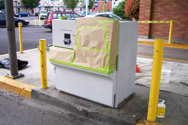 Before picture of an ATM in Oregon that was eventually painted with epoxy.