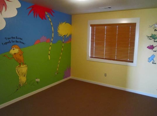Children's Lorax mural painted in a Bend home.