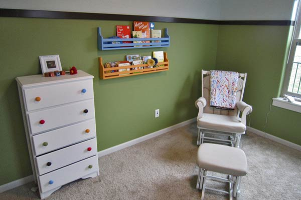 An after picture of a nursery before it was custom painted.