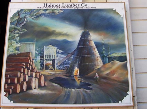 Mural of an old mill that was painted by a Bend, Oregon muralist.